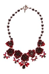 Marchesa Flower Drama Bib Necklace Red