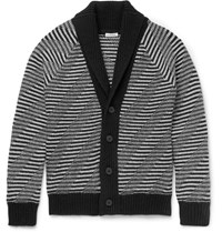 Tomas Maier Slim Fit Shawl Collar Striped Merino Wool Cardigan Black