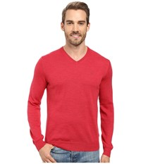 Calvin Klein Merino Moon And Tipped V Neck Sweater Foiano Men's Sweater Red