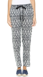 Love Sam Kelly Embellished Pants Black White Ikat Print