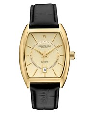 Kenneth Cole Goldtone Stainless Steel And Leather Barrel Strap Watch 10030818 Black