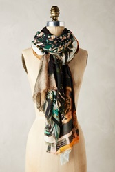 Anthropologie Venice Beach Scarf Green Motif
