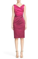 Women's Talbot Runhof Drape Neck Stretch Satin Sheath Dress