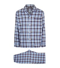 Harrods Of London Tartan Flannel Pyjamas Male Blue