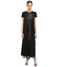Neil Barrett Fringed Leather Jersey Long Fringed Eco Leather Crepe Stretch Dress Black Women's Dress