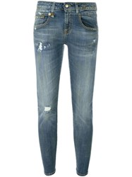 R 13 R13 Distressed Skinny Jeans Grey