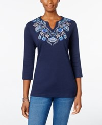 Karen Scott Embroidered Top Only At Macy's Intrepid Blue