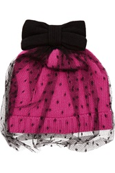 Red Valentino Lace Appliqued Knitted Beanie Black