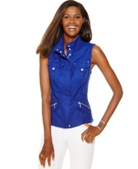 Inc International Concepts Linen Military Vest Goddess Blue