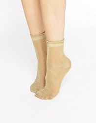 Monki Sheer Glitter Ankle Socks Off White Gold