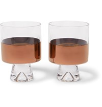 Tom Dixon Tank Set Of Two Painted Lowball Glasses Neutrals