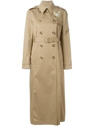 Red Valentino Sequin Embellished Trench Coat Nude And Neutrals