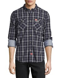 Superdry Grindleshawn Plaid Cotton Shirt Charcoal Check