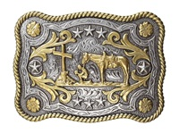 Mandf Western Rope Edge Cowboy Prayer Rectangle Buckle Silver Gold Men's Belts