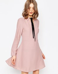 Asos Tie Neck Shirt Dress With Contrast Tie Lilac Cream