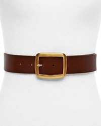 Michael Michael Kors Center Bar Buckle Belt Dark Caramel Brushed Gold