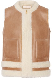 Tory Burch Shearling Trimmed Leather Vest