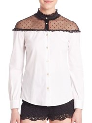 Red Valentino Mixed Media Button Down Blouse White