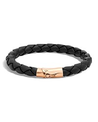 John Hardy Bamboo Bronze Station Bracelet On Woven Black Leather Black Bronze