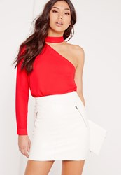Missguided Choker Neck One Shoulder Blouse Red Red