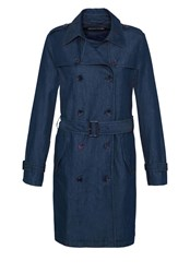 Hallhuber Denim Trench Coat Blue