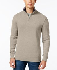 Tommy Hilfiger Men's Ribbed Quarter Zip Sweater Taupe Heather