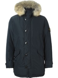 Stone Island Faux Fur Trim Hooded Parka Blue