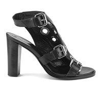 Mcq By Alexander Mcqueen Mcq Alexander Mcqueen Women's Nico Eylet Leather Heeled Sandals Black