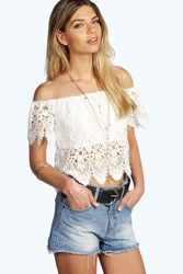 Boohoo Crochet Off The Shoulder Top White