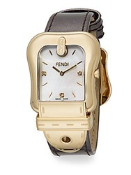 Fendi B. Goldtone Ip And Leather Buckle Watch