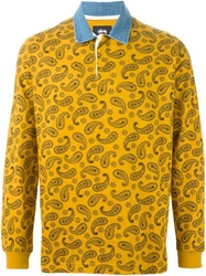 Stussy Paisley Print Long Sleeve Polo Shirt Yellow And Orange
