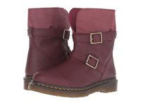 Dr. Martens Kristy Slouch Rigger Boot Cherry Red Virginia Women's Pull On Boots Brown