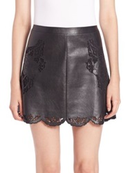 Bcbgmaxazria Jehnifer Faux Leather Laser Cut Mini Skirt Black