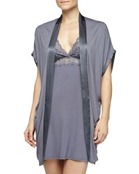 Fleurt Bohemian Rhapsody Silk Band Robe Blue Granite