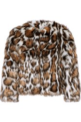 Moschino Cropped Leopard Print Faux Fur Coat Leopard Print