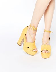 Asos Heath Wide Fit Platform Sandals Yellow