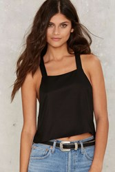Sky High Low Apron Tank Top Black