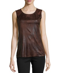 P. Luca Animal Print Faux Leather And Chiffon Blouse Brown