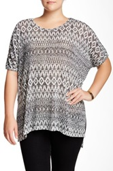 Bobeau Oversized Aztec Print Tunic Blouse Plus Size Gray