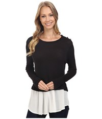 Bobeau Agatha Mixed Media Top With Button Shoulder Black Women's Blouse