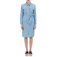 Barneys New York Women's Belted Chambray Dress Light Blue