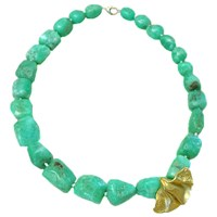 Lori Kaplan Jewelry Chunky Chrysoprase Necklace Gold