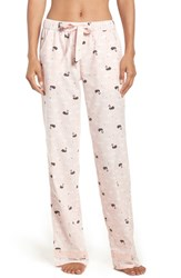 Nordstrom Women's Lingerie Flannel Pajama Pants Pink Creole Winter Swans