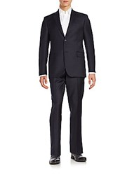 Saks Fifth Avenue Regular Fit Tonal Check Wool And Silk Suit Black