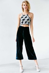 Kimchi And Blue Kimchi Blue Velvet High Rise Crop Flare Pant Navy