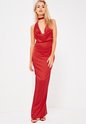 Missguided Galore Red Satin Cowl Neck Maxi Dress