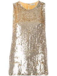 P.A.R.O.S.H. Sequined Sleeveless Blouse Metallic