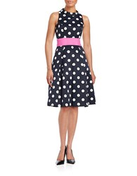 Eliza J Mockneck Polka Dot Dress Navy Ivory