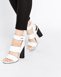 Senso Xander White Leather Block Heeled Ankle Strap Sandals White