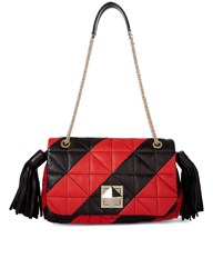 Sonia Rykiel Red Quilted Leather Flap Bag Print